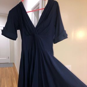 Unique Vintage navy swing dress